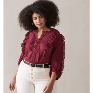 Additionelle Burgundy Button Up Boho Blouse
